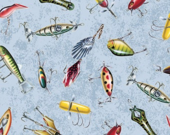 """Fishing Fabric: Reel It In Fish Lures by Quilting Treasures 100% cotton fabric by the yard 36""""x43"""" (QT15)"""