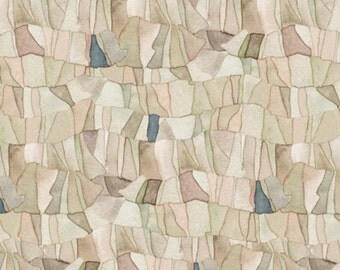 "MOSAIC Fabric, Mosaic Slate: Tres Chic TONAL MOSAIC Tan by Quilting Treasures 100% cotton Fabric by the yard 36""x43""  (N553)"