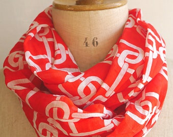 infinity scarf woman, round cotton scarf, red and white scarf, voile cotton fabric, spring scarf woman, infinity scarves women, gift for her