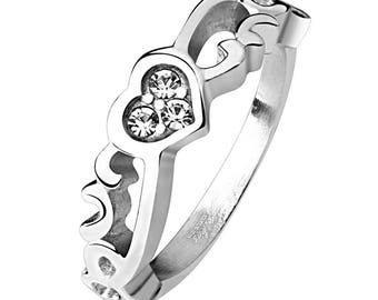 Vintage Heart with 3 CZ Stainless Steel Ring