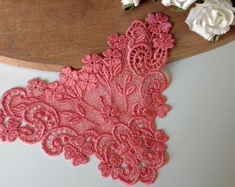 LACE -Coral Lace Appliques  Vintage  New Old Stock  Rare Coral Color