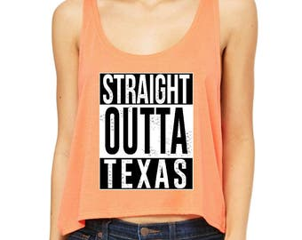 Free Shipping! Blue Tees Straight Outta Texas Women Boxy Tank Top  Clothes