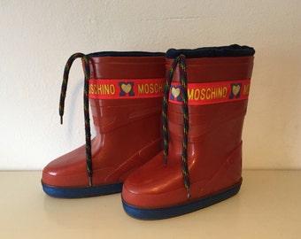 snowboots Moschino Italy red size 12 13 maat 31 32 sneeuwlaarzen
