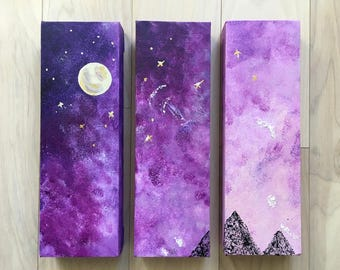 Purple Universe set of 3 Acrylic paintings
