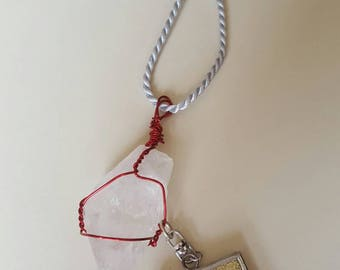 Wire wrapped quartz (rough) necklace with charm