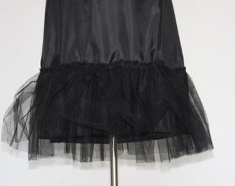 Black Petticoat with One Tulle Row for Circle Skirts/Petticoat for 50s Skirts/Satin Petticoat Tulle