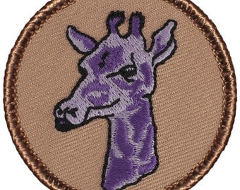 Purple Giraffe Patch (060A) 2 Inch Diameter Embroidered Patch