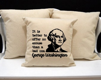 George Washington Pillow, Historical Pillow, novelty throw pillow, pillow gift, nerd gift, nerd pillow, modern home decor, 20x20 16x16 inch