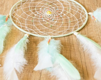 "Dreamcatcher Zen Handmade ""Spring Ethnic"" Light Green and White"