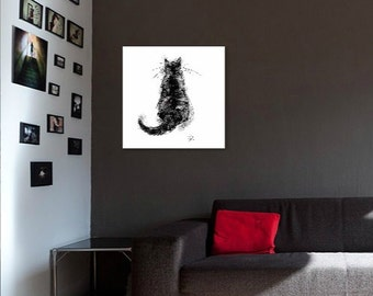 Black cat painting // A3 print // large art print // large cat art print // large cat painting // black cat drawing // gifts for cat lovers