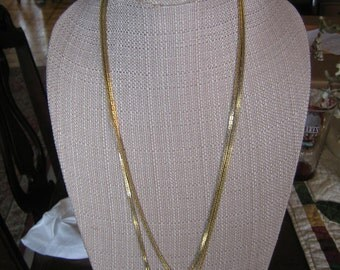 Vintage Gold Tone Chain Link Necklace - 60""