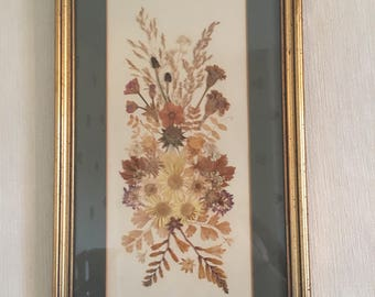 Vintage Pressed Flower Picture