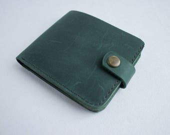 Leather wallet green wallet personalized wallet men wallet bifold wallet card wallet engraved wallet mini wallet small wallet card holder