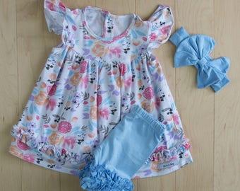 Spring/Summer Zoe Print Ruffle Flutter Pearl Dress with matching capris