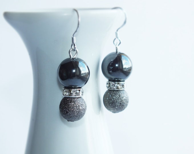 Hematite earrings, black earrings, silver dangle earrings, Dangle Earrings, gift ideas