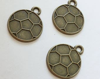 20- Antiqued Bronze Soccer Ball Charms- 22 x 19mm