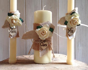 Wedding Unity candle decorations, country rustic vintage style, hessian and ivory rose, his, hers and ours.