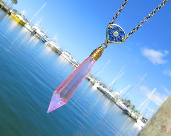 Pink Chandelier Crystal Necklace // Pink Icicle Crystal Prism Necklace // Crystal Statement Necklace