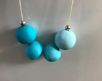 Aquamarine Polymer Clay Necklace