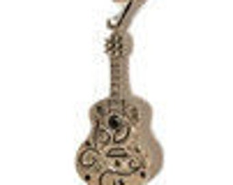 Sterling Silver Guitar Pendant/Free Sterling Silver Necklace
