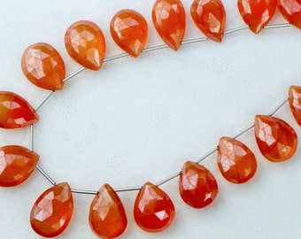 10 inch strand,Brand New, CARNELIAN Faceted Pear Shaped Briolettes