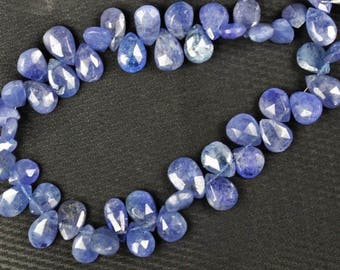 8 inch long strand faceted Pear Tanzanite briolette beads 8 -- 10 mm approx
