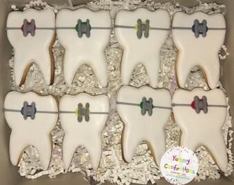 Dentist/Dental Teeth Braces Cookie Favors - 1 Dozen (12 Cookies)
