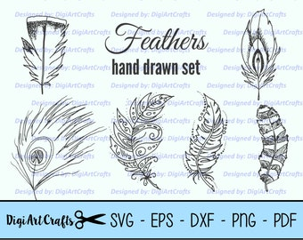 Hand Drawn Feather Cut Files / Feathers Clip Art / DIY Feather SVG cutting files / scrap booking images / Feather Outline / Commercial Use