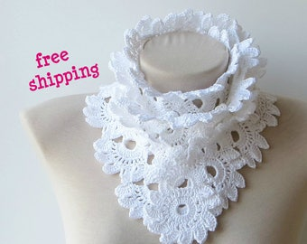 White cotton scarf, Summer scarf, Women scarf, Crochet scarf, Lightweight, Knit scarf, Cotton scarf, Made to order, 100% Cotton, White scarf
