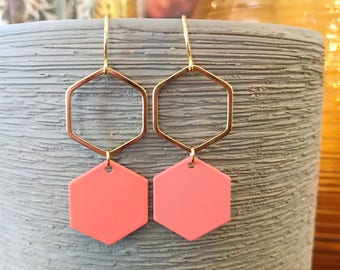 Gold and coral hexagon earrings