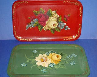 Vintage Metal Serving Trays (2), Floral Hand Painted, Original by Trex, Shabby Chic, Home Decor, Cottage Chic
