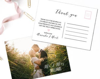 Wedding thank you cards with photo, Wedding thank you from Mr & Mrs, Thank you flat note cards, Mr  Mrs note cards, Thank you post card