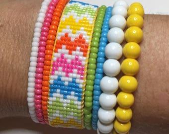 Neon bracelet, rainbow bracelet, summer bracelet, summer jewelry