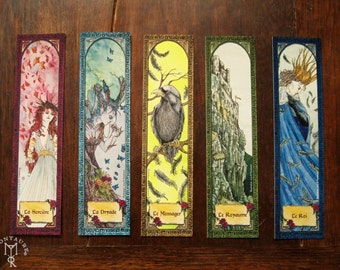 BOOKMARKS - set of 5 printed paper bookmarks - Witches dryad enchanted tree crow rock castle king fairy folklore fantasy art
