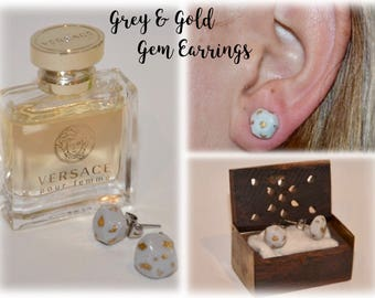 Gold and Grey Gem Earrings
