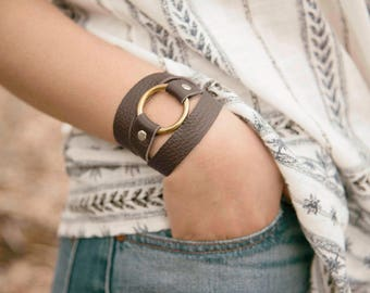 Brown Triple Wrap Leather Bracelet w/ ring & rivets inspired by Joanna Gaines