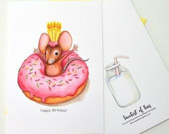 Mouse Donut, Greeting Card, 5x7 Card, Animal Art, Children's Art, Watercolor, Art Print, Children's Illustrations