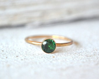 Emerald Ring. Gold Emerald Ring, Emerald Ring Gold, Small Gemstone Ring, Stackable Gemstone Rings,Emerald Stacking Ring, Dainty Emerald Ring