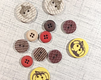 fall button lot - acorn button - pumpkin button - red and brown buttons