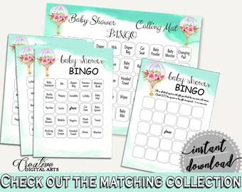 Bingo Baby Shower Bingo Hot Air Balloon Baby Shower Bingo Baby Shower Hot Air Balloon Bingo Green Pink digital download, pdf jpg CSXIS