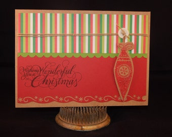 Hand Stamped – Made Christmas Card – Wishing You a Wonderful Christmas