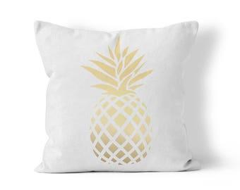 Golden Pineapple Outdoor Throw Pillow