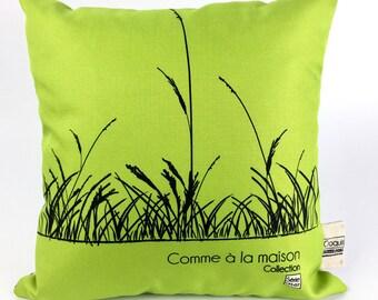 Decorative pillow / cushion Green-striped black / pattern natural wheat /coussin washable Saint Jean-sur-Richelieu/Quebec CM - 07