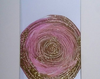 SALE Abstract Painting Circle Pink Gold Metallic Original Art Mounted  Wall Art 8 x 10 / Mixed Media Glitter / Mix and Match series