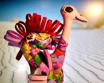 Satin Textile Kids Toy Colourful Ostrich Stuffed Bird Home Decor