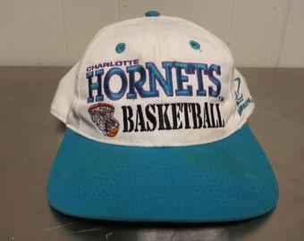 Vintage 90's Logo Athletic Charlotte Hornets Snapback Dad Hat Sports Team NBA Basketball Minimal Logo Script