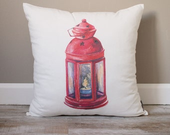 Christmas Lantern Pillow | Christmas Pillow | Holiday Pillow | Christmas Gift | Rustic Home Decor | Holiday Decor | Christmas Decor