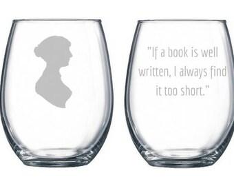 Jane Austen Gifts, Jane Austen Wine Glasses, Jane Austen Quote, Jane Austen Persuasion, Jane Austen Books, Set of 2, Bookworm Gifts