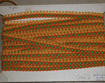 Vintage Yellow Green Orange Fabric Trim With Fringes Circa 1960's By The Yard