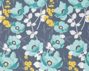 """1 yard 9"""", Floral Fabric, Flowers, Teal, Blue, Yellow, White, Mint Monarch, Atrium, Joel Dewberry, Free Spirit, 100% Quilting Cotton Fabric"""